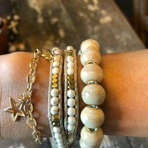 Bracelet Stack+3 Bracelets+Wood+Gold+Wrap